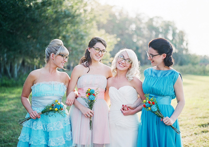 retro bridesmaids | Esther Louise Photography | Glamour & Grace