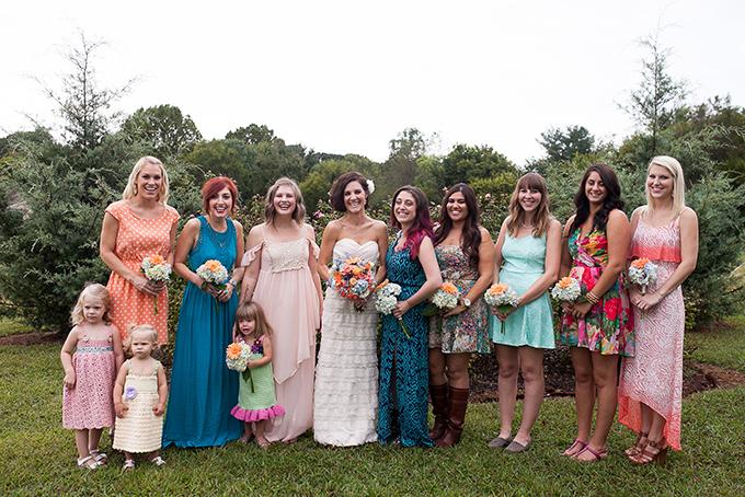 colorful mismatched bridesmaids | Katherine Stinnett Photography | Glamour & Grace