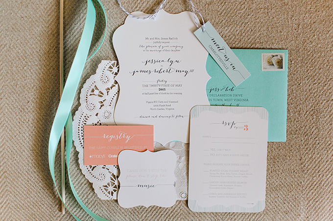 peach and mint invitation by Jess Creates | Katelyn James Photography | Glamour & Grace
