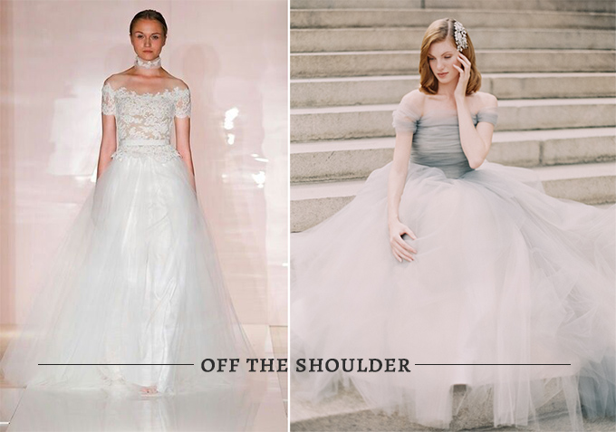 Jackie O wedding look- off the shoulder gowns