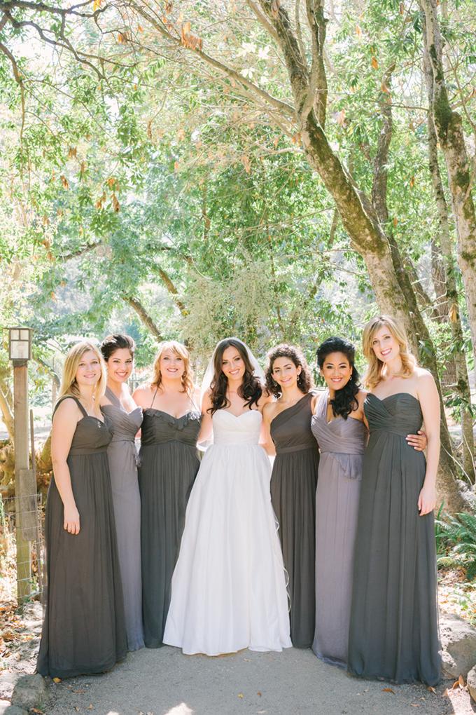 gray bridesmaids | Kirsten Julia Photography | Glamour & Grace