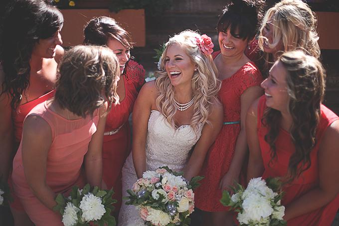 coral bridesmaids | Nakalan McKay Photography | Glamour & Grace
