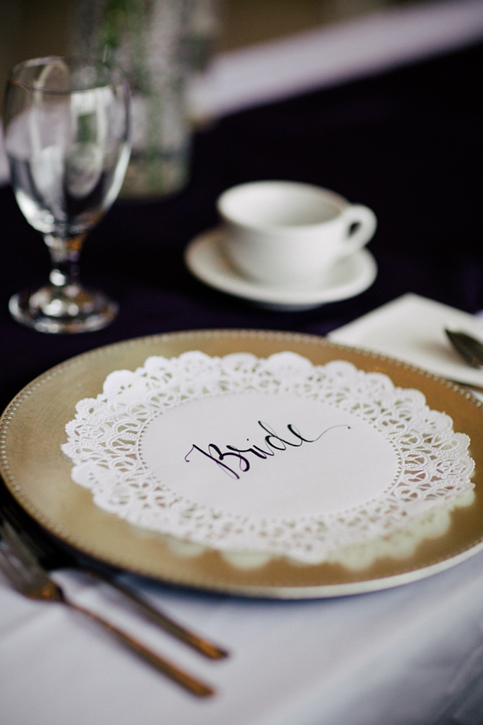 calligraphy place setting | Michelle Kristine Photography | Glamour & Grace