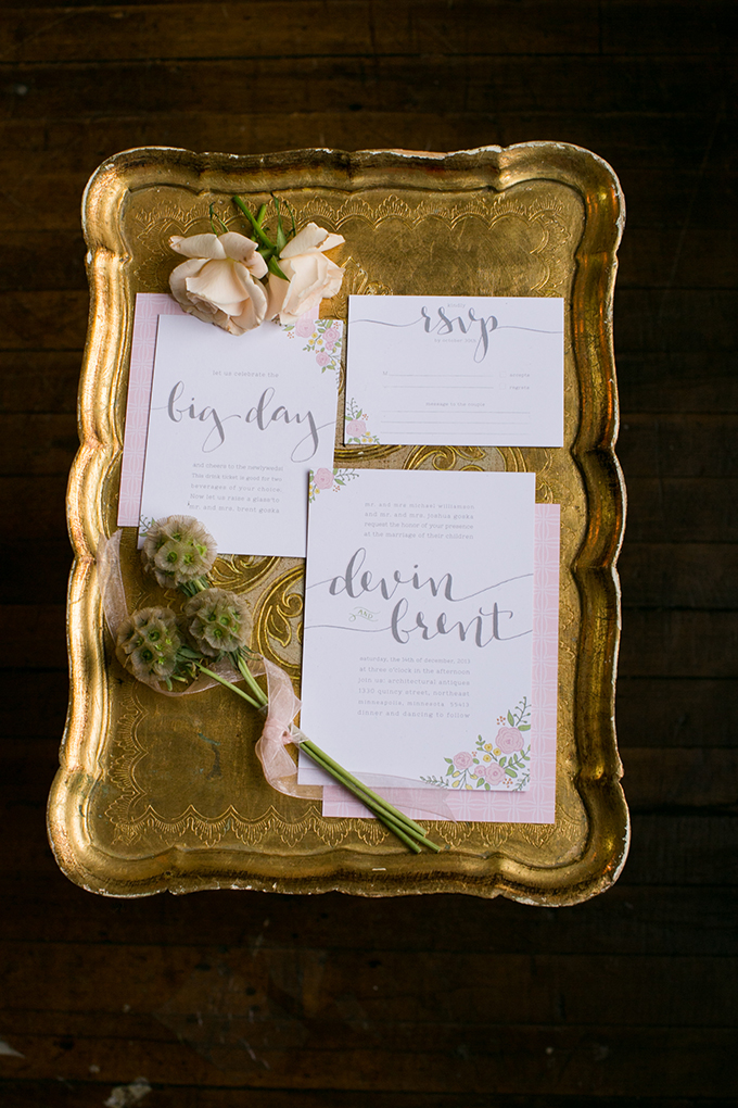 pink invitation from Saffron Avenue | Erin Johnson Photography | Glamour & Grace