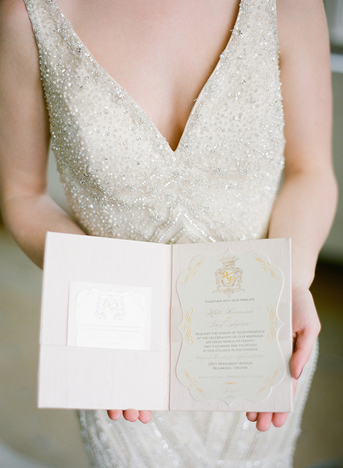 elegant gold invitation by Dionisa's Designs | David Abel Photography | Glamour & Grace