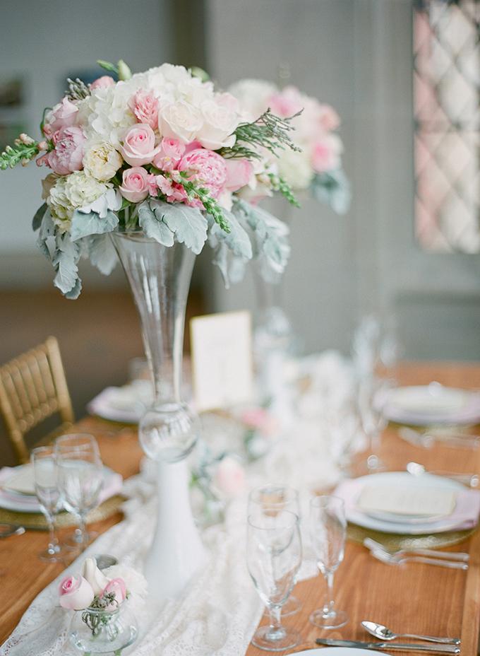 pink centerpieces | David Abel Photography | Glamour & Grace