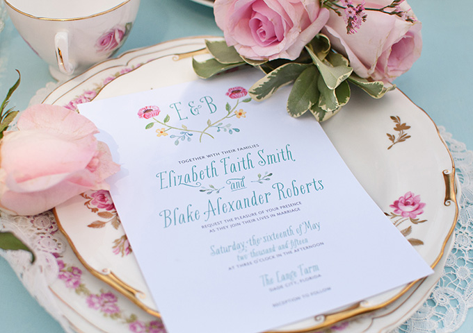 painted invitations | Catherine Ann Photography | Glamour & Grace