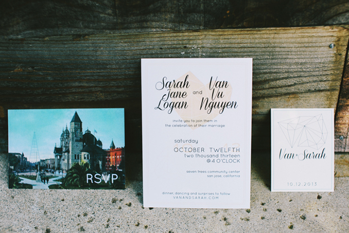 modern handmade invitations | Jerry Yoon Photographers | Glamour & Grace