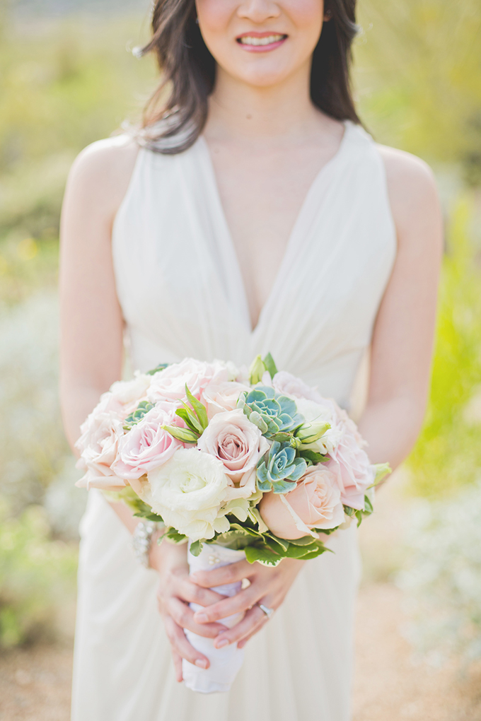 rose and succulent bouquet | Elyse Hall Photography | Glamour & Grace