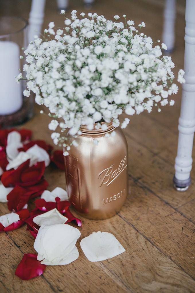 mason jar aisle details   Cyrience Creative Studios   Glamour & Grace