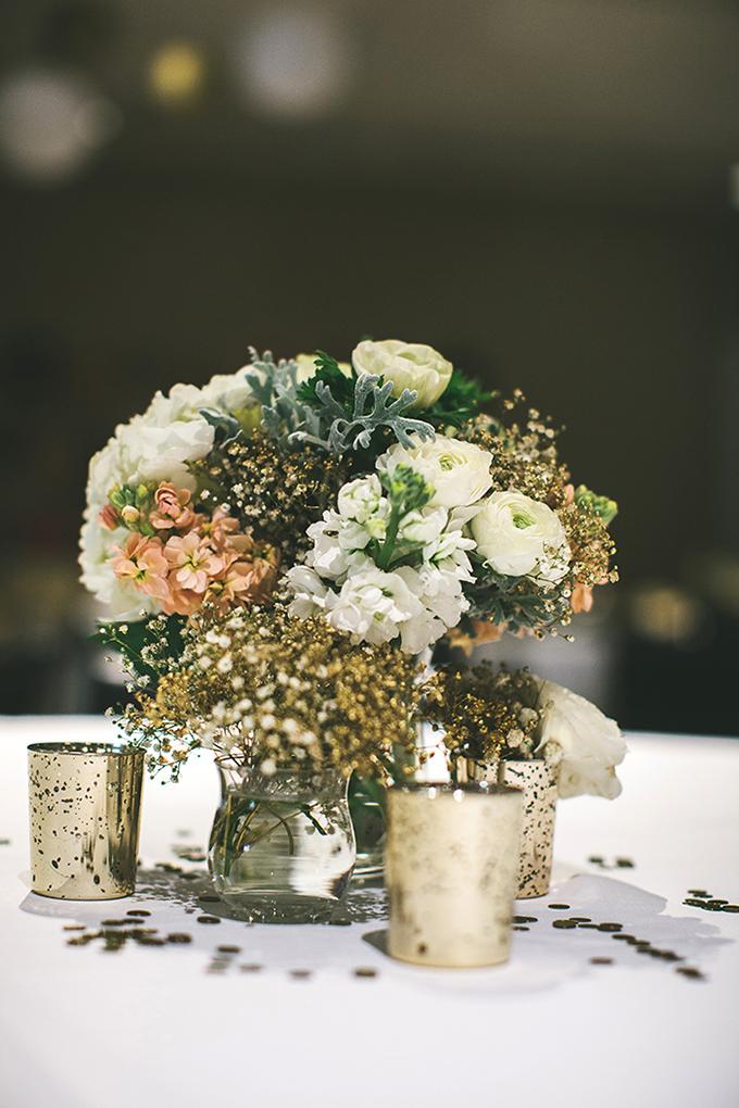 gold DIY centerpieces | Plum Jam Photography | Glamour & Grace