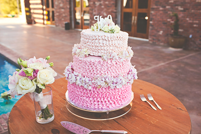 pink ombre ruffle cake | Lindsey Gomes Photography | Glamour & Grace