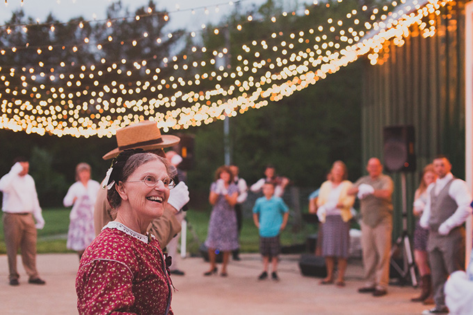 """Civil War Dance Caller"" teaching dances to guests 