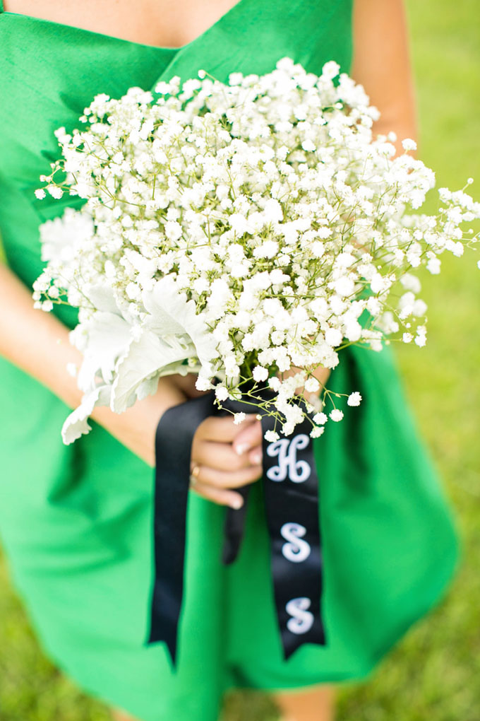 baby's breath bouquet with monogram ribbon | Macon Photography | Glamour & Grace