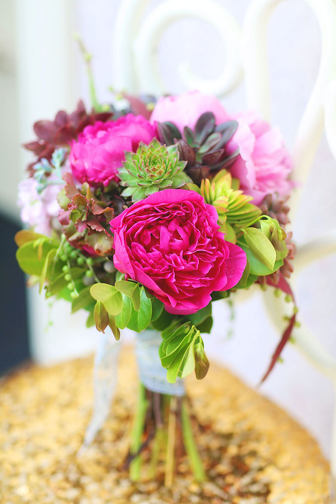 peony and succulent bouquet | Melissa Enid Photography | Glamour & Grace