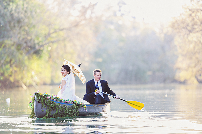 canoe trash the dress | Christina Carroll Photography | Glamour & Grace