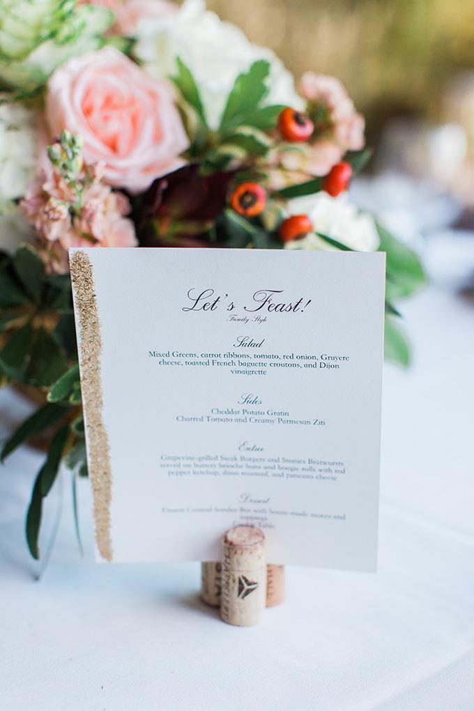 gold glitter menus | Laura Ann Miller Photography | Glamour & Grace