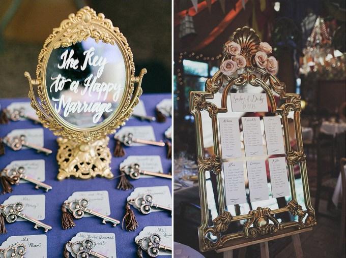 vintage mirror escort cards