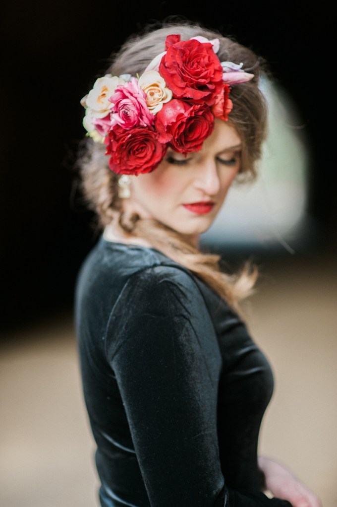 red floral crown | Christa-Taylor Photography | Glamour & Grace