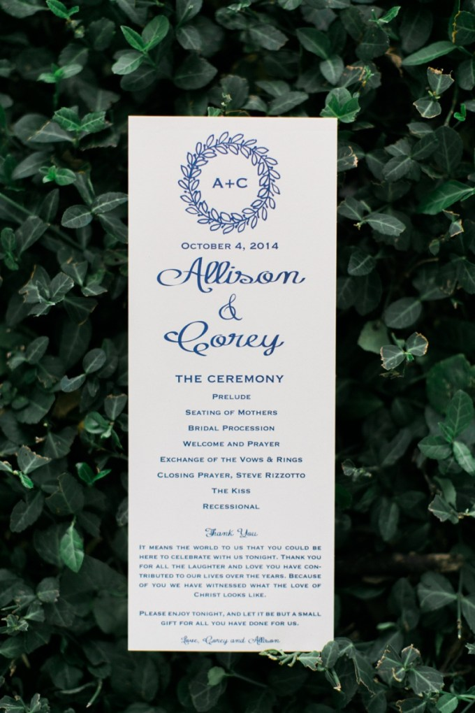 ceremony program | Elisabeth Carol Photography | Glamour & Grace