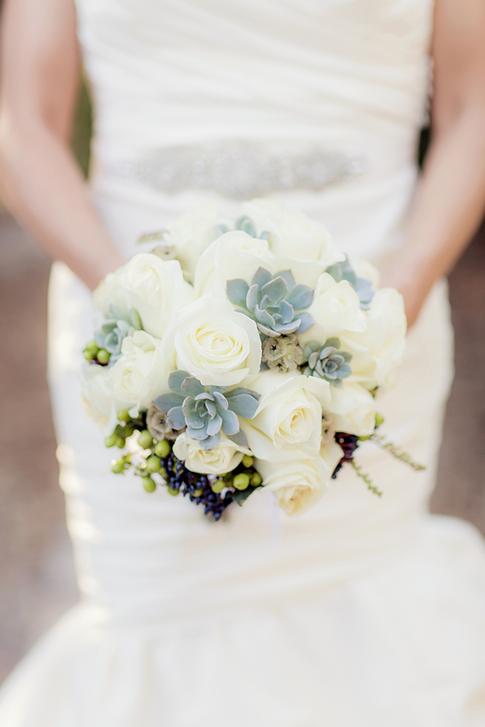 white and succulent bouquet | Figlewicz Photography | Glamour & Grace