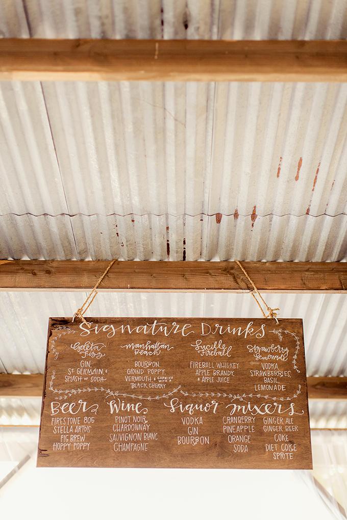 signature drink menu | Figlewicz Photography | Glamour & Grace
