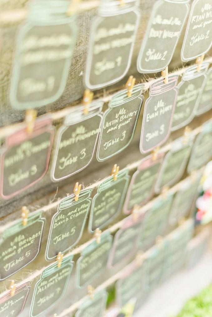 mason jar escort cards | Kate Supa Photography  | Glamour & Grace