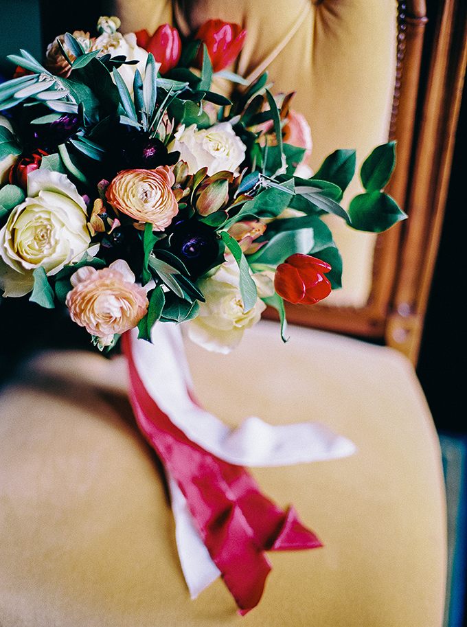 rich purple, red, and yellow bouquet by Amanda Burnette | Nikki Santerre Photography | Glamour & Grace