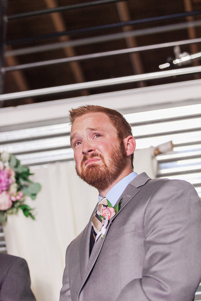 groom's reaction to seeing bride down the aisle | Sara Lynn Photographic | Glamour & Grace
