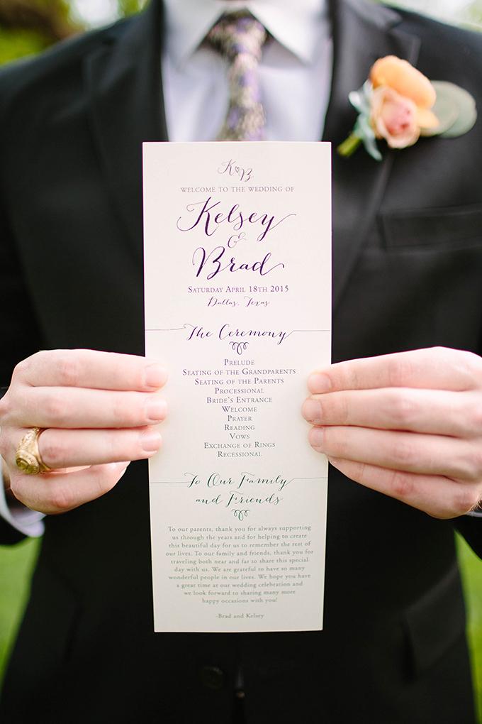 wedding program | Michele Shore Photography | Glamour & Grace