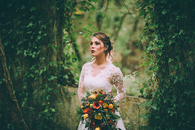 dramatic fall bridal portraits | Enchanted Brides | Glamour & Grace