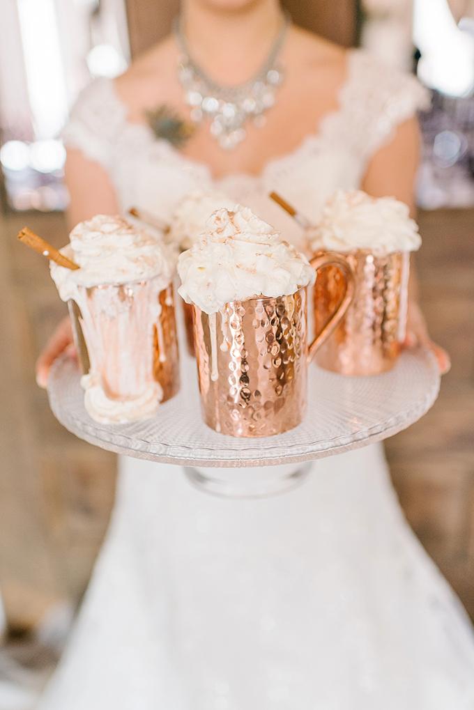 hot cocoa in copper mugs | Amanda Adams Photography | Glamour & Grace
