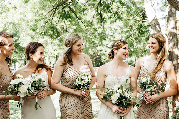 gold and white bridesmaids | Perregeaux Wedding Photography | Glamour & Grace