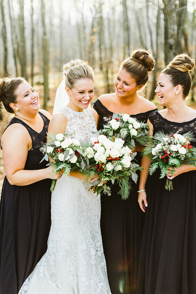 black winter bridesmaids | Molly Jo Collection | Glamour & Grace