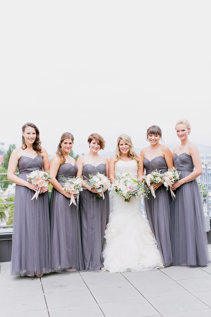 gray bridesmaids | Milou + Olin Photography | Glamour & Grace