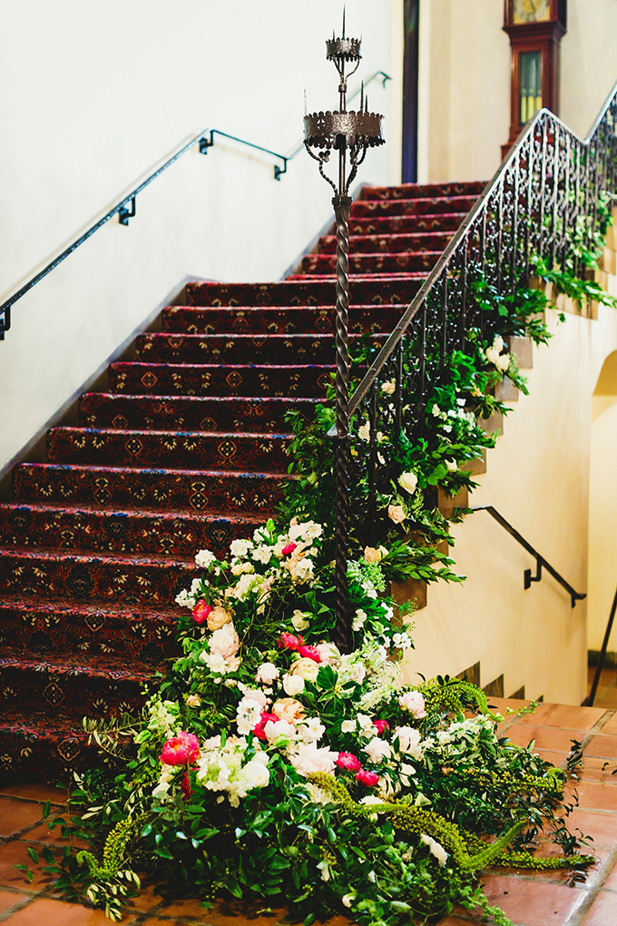 floral covered staircase | Milou + Olin Photography | Glamour & Grace