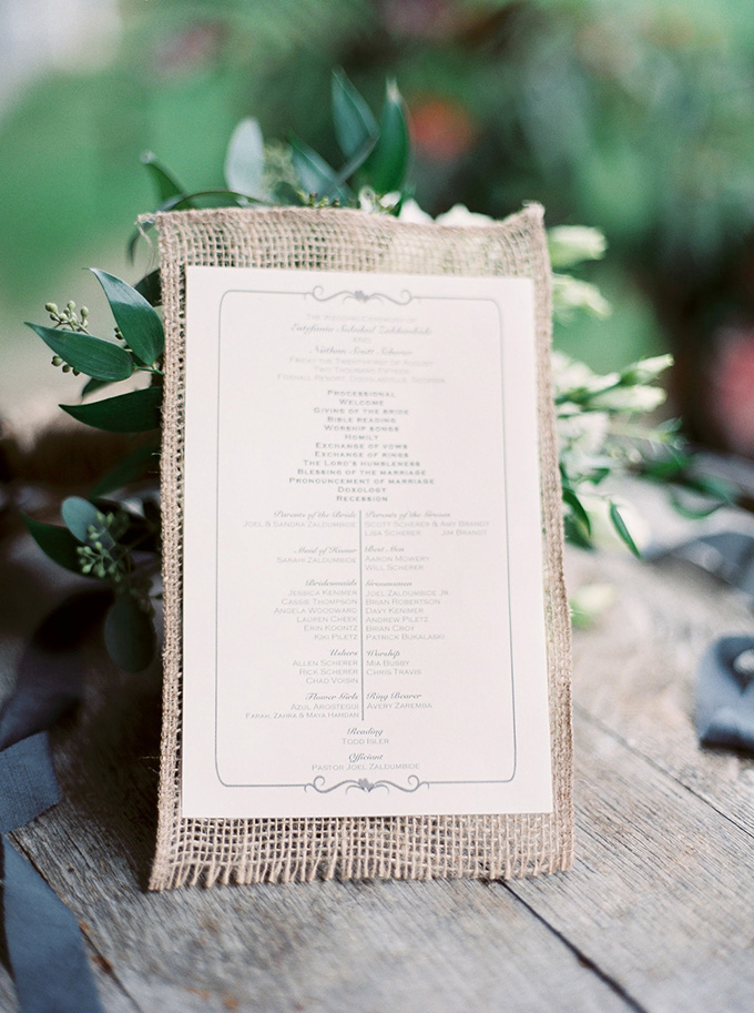 rustic ceremony program | Noi Tran Photography | Glamour & Grace