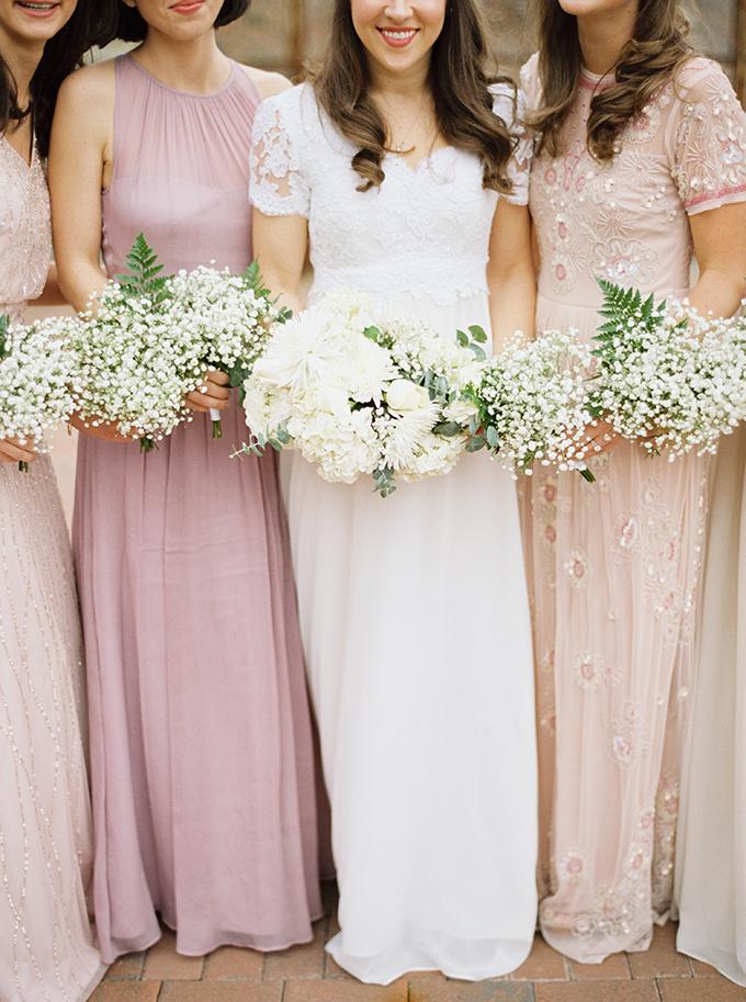 blush mismatched bridesmaids | JoPhoto | Glamour & Grace