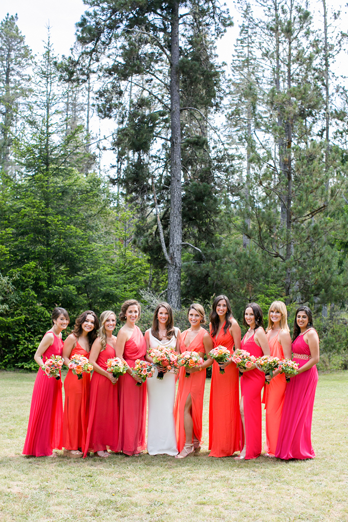 red orange bridesmaids | Anna Marks Photography | Glamour & Grace