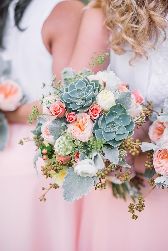 peach succulent bouquet | Karyn Johnson Photography on Glamour & Grace