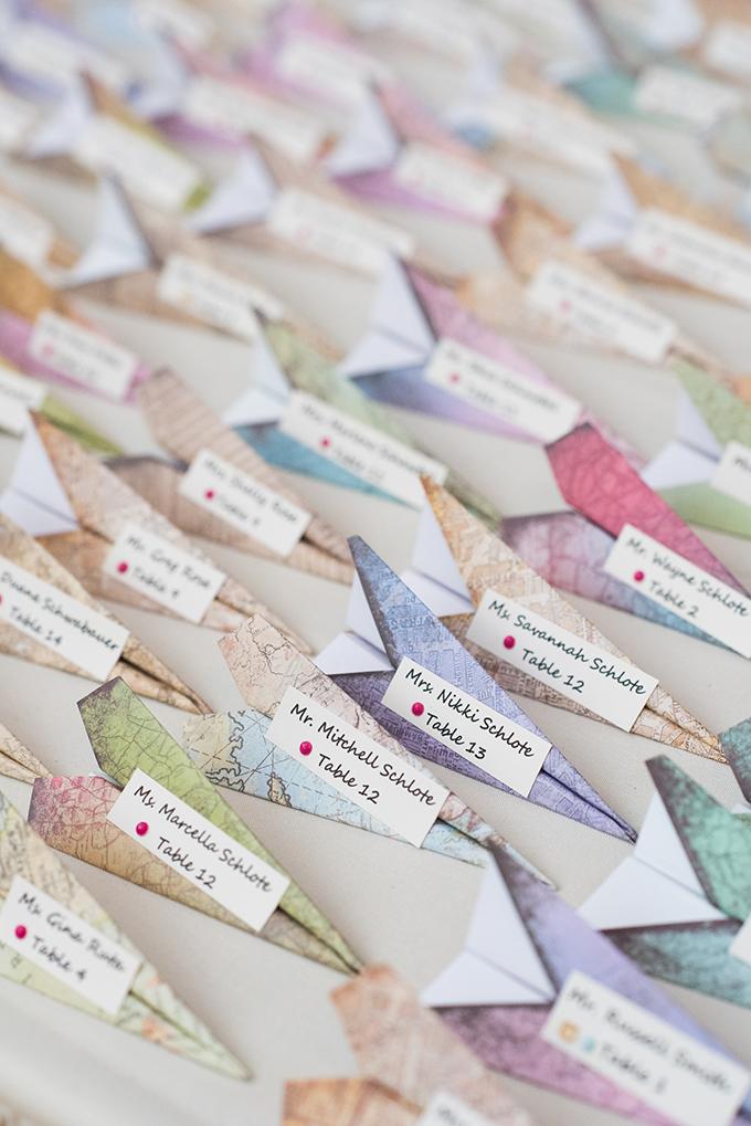 paper airplane escort cards | Elizabeth Nord | Glamour & Grace