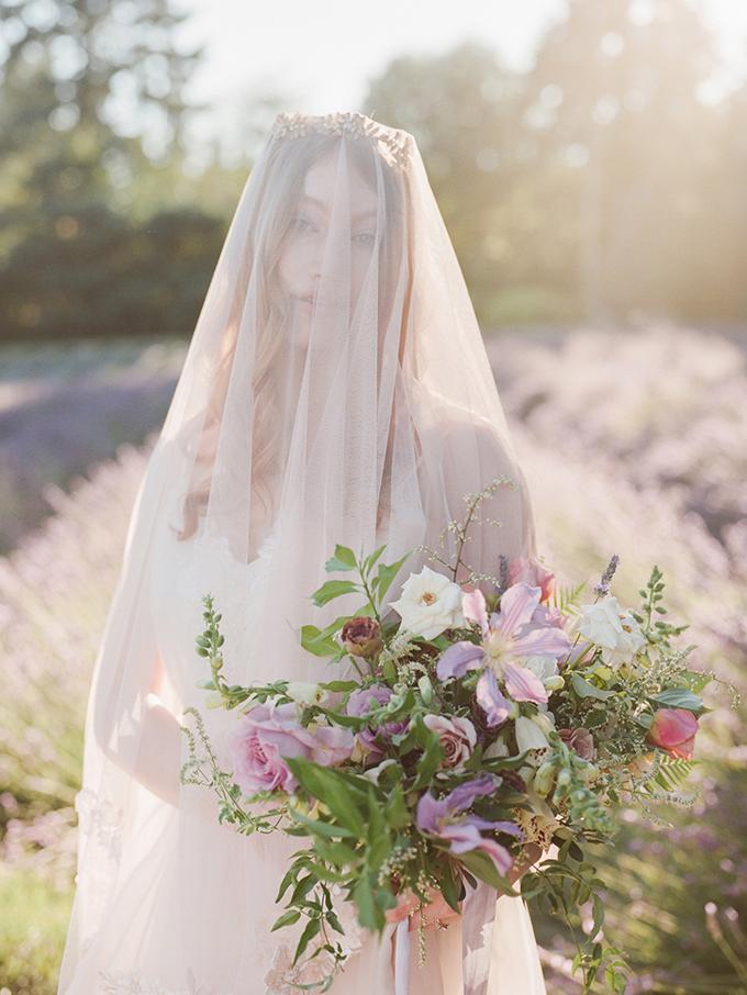 romantic lavender field bridal portrait | Esther Louise Photography | Glamour & Grace