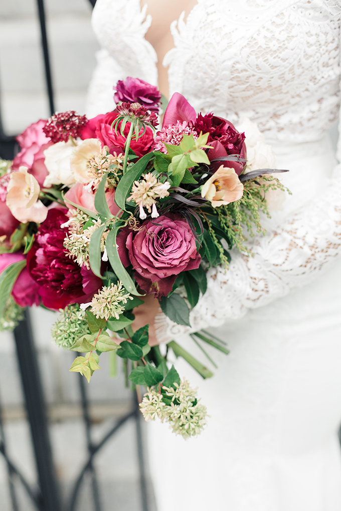 magenta bridal bouquet | Molly and Co | Glamour & Grace