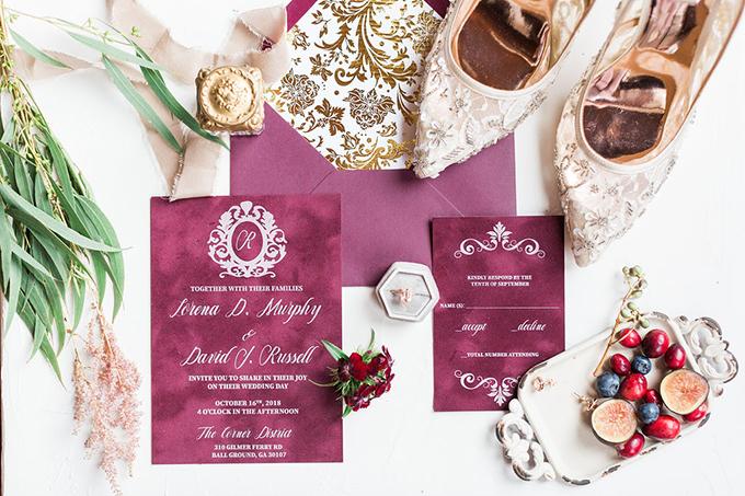 romantic whimsical burgundy wedding ideas   Nicole Flores Photography Co.   Glamour & Grace