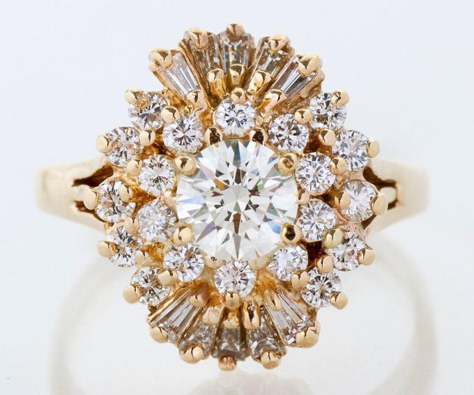 Vintage 14k Yellow Gold Starburst Engagement Ring