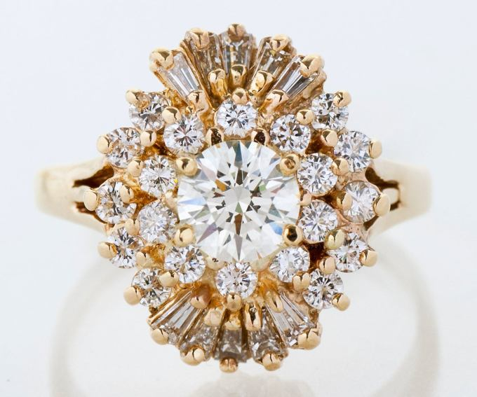 Vintage 14k Yellow Gold Starburst Engagement Ring