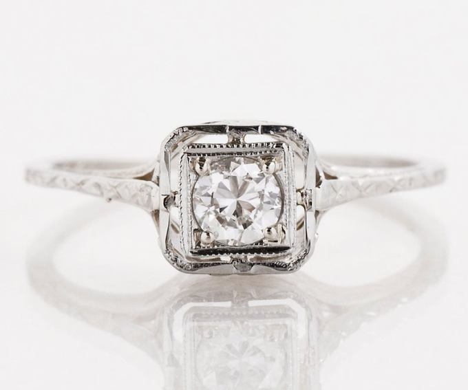 Antique Square Top Diamond Engagement Ring