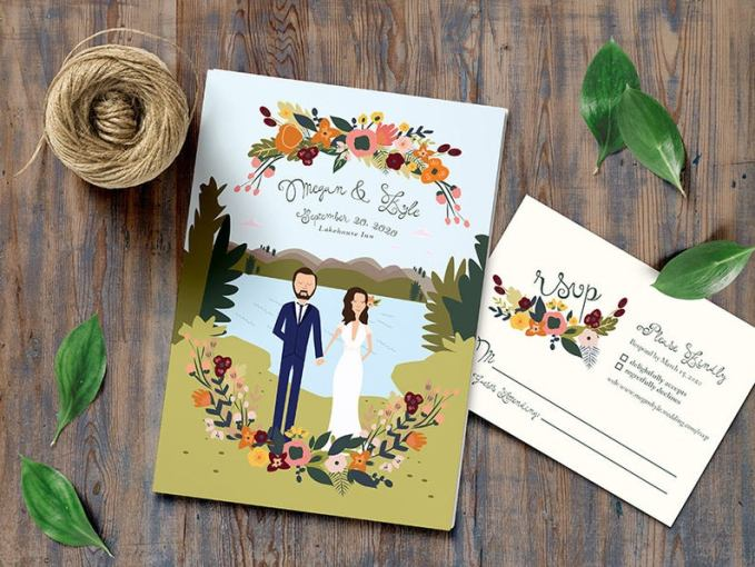 Illustrated Fall Wedding Invitations