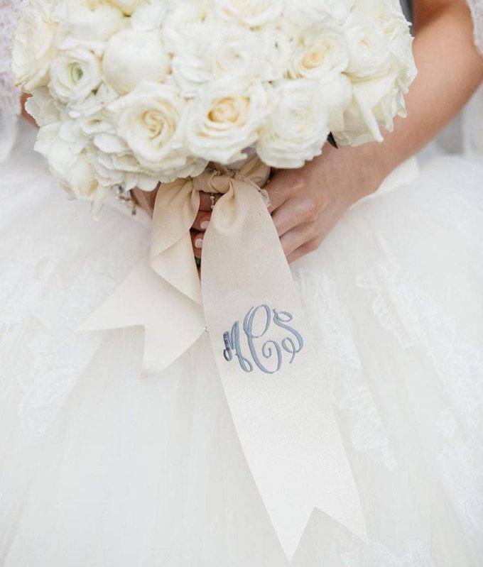 Custom Monogrammed Bouquet Ribbon