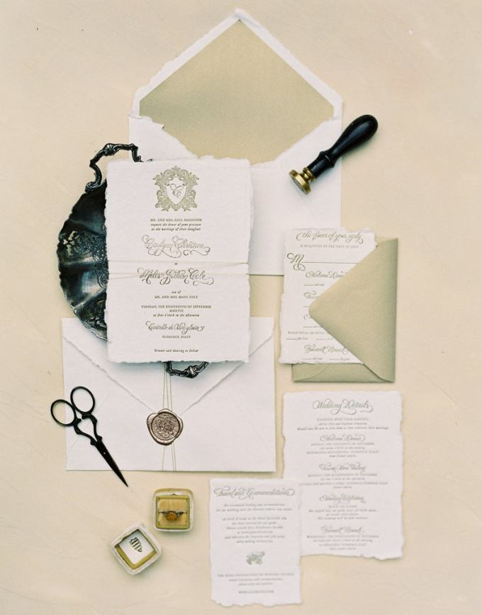 Luxurious Letterpress Calligraphy Wedding Invitation